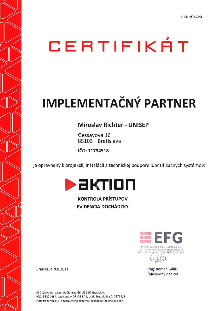 certifikát implementátora